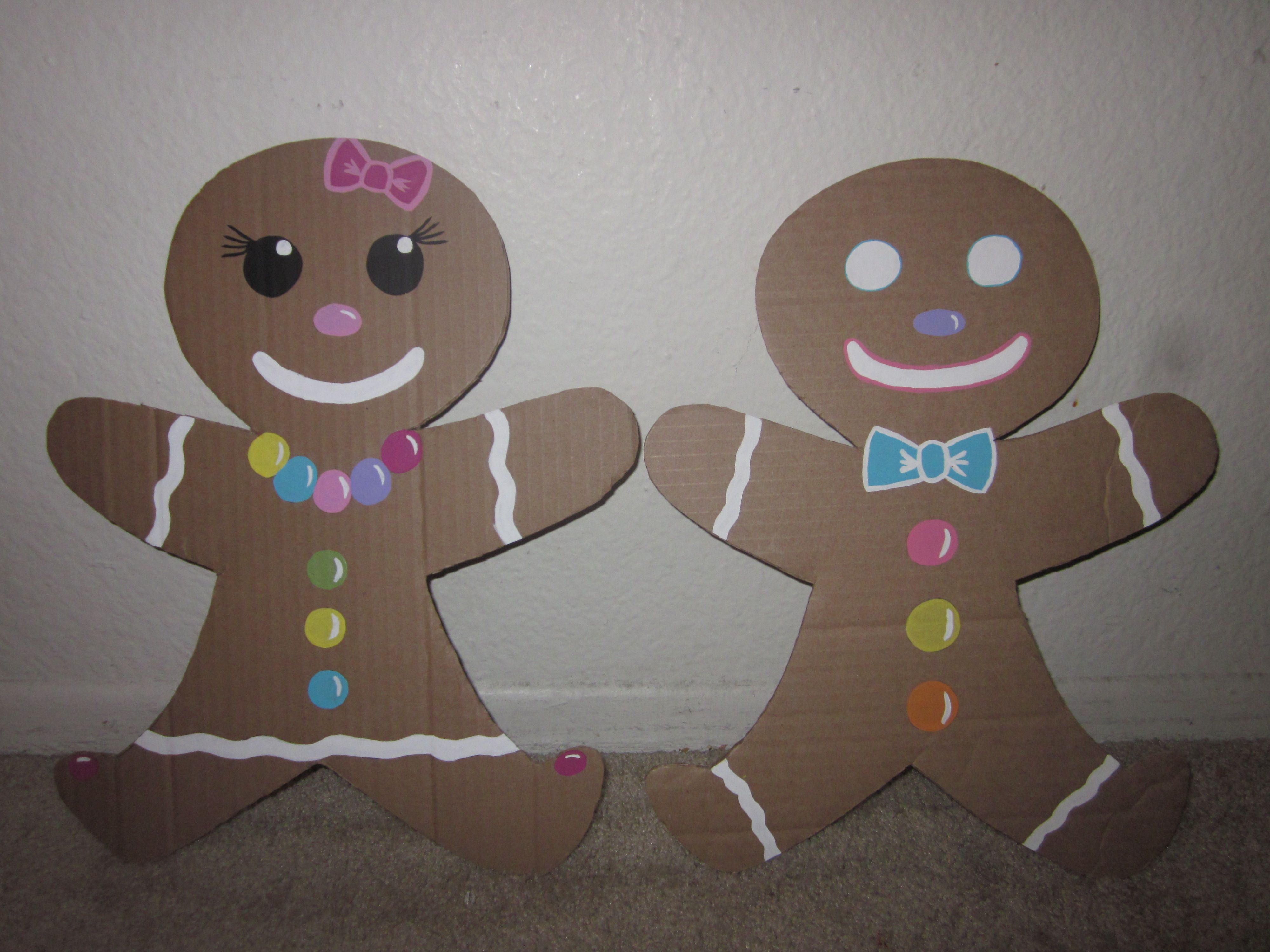 Gingerbread Men Woman Made Out Of Cardboard Christmas Float