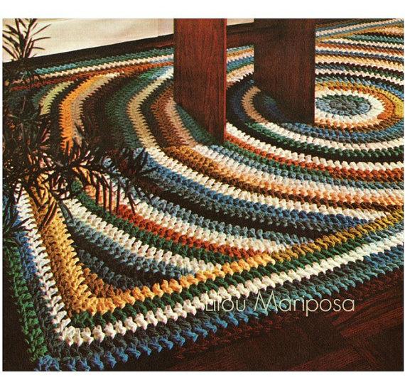 Crochet Pattern Vintage 70s Crochet Rug Pattern Mat Scatter Area Rug ...