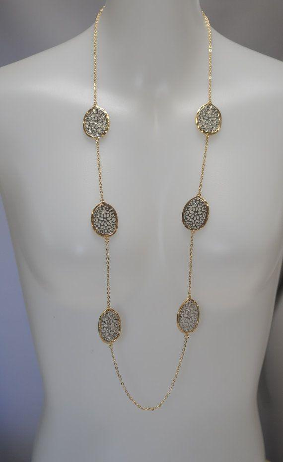 Long Flat filigree Necklace Dark Silver filigree by stylelovers