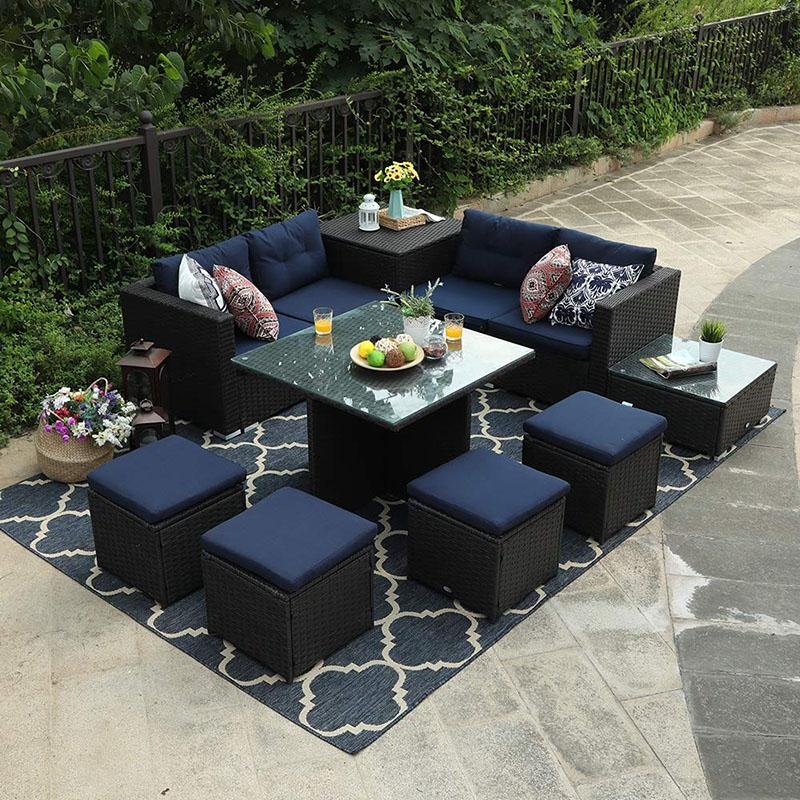 Phi Villa Outdoor Furniture Rattan Sectional Sofa Set With