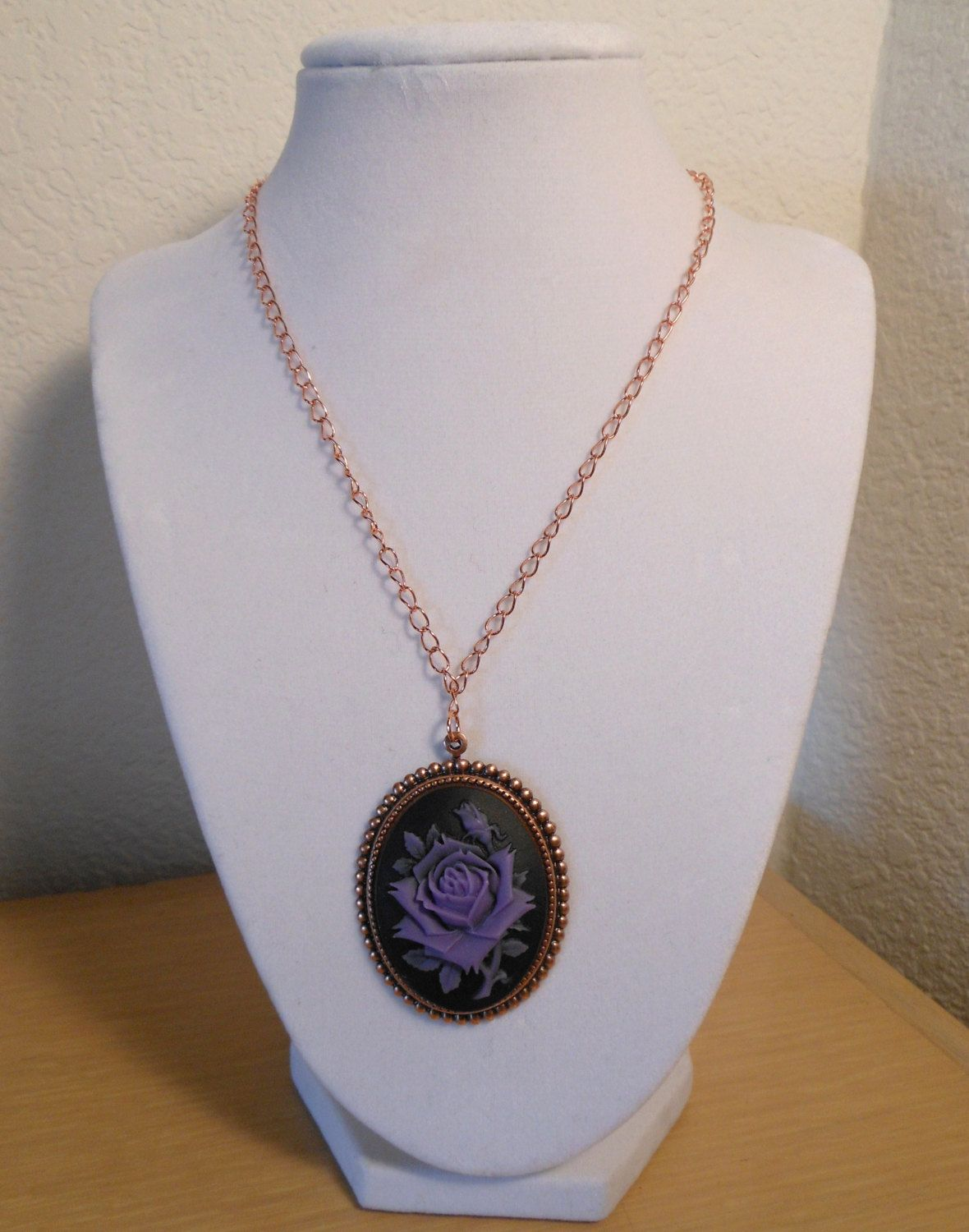 Forever Rose Cameo/Resin cameo rose purple by CreationsbyMaryEllen, $10.99