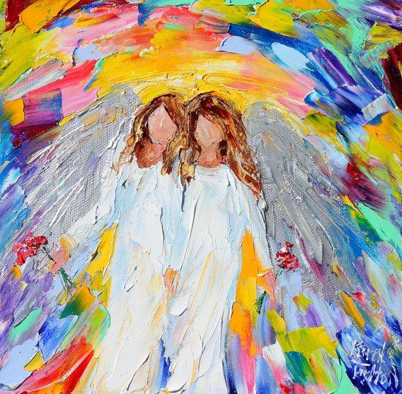 Original oil painting Spring Angel palette knife impasto impressionism fine art…
