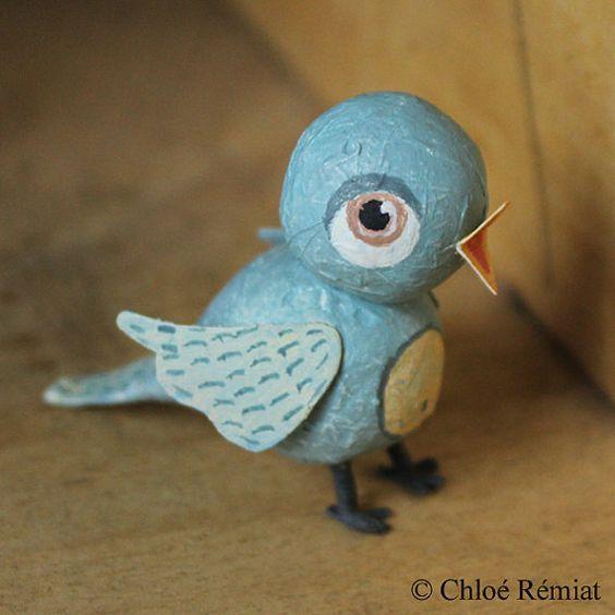 Petit oiseau à poser PIÈCE UNIQUE entièrement réalisée à la main en - Poser Papier A Peindre