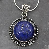 India jewelry sterling silver and lapis lazuli necklace sky over lapis lazuli pendant necklace sky over varkala mozeypictures Images