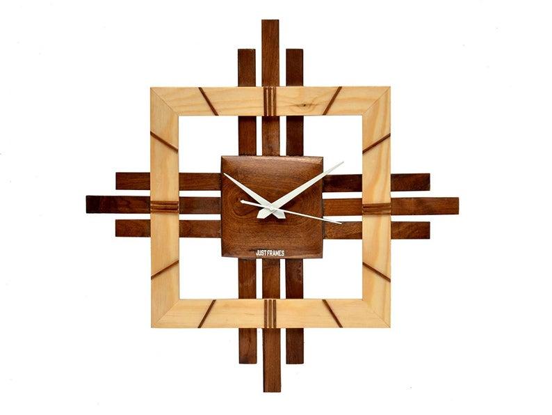 Wood Designer Modern Wall Clock Natural Clear 20 X 1 5 X 20 Etsy In 2020 Wall Clock Design Wood Clock Design Wall Clock Plans