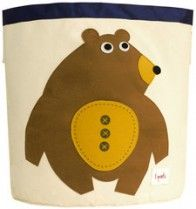 """3 Sprouts Bear Storage Bin   Perfect size for storing toys, books or laundry. Measuring 17.5"""" x 17"""", this bin is made of cotton canvas and is tough to hold whatever life throws at it. Saves space and easily stores when not in use. Makes great gift!   Naked Baby Eco Boutique"""