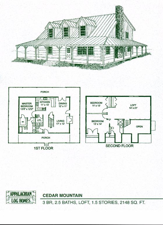 Cedar Mountain 3 Bed 2 5 Bath 1 5 Stories 2148 Sq Ft Appalachian Log Timber Homes Log Cabin Floor Plans Log Home Floor Plans Log Cabin House Plans