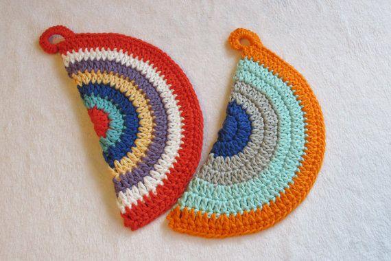 Pot Holders, Hot Pads, Cotton Trivets, Crochet Pot Holder - Two Pack ...