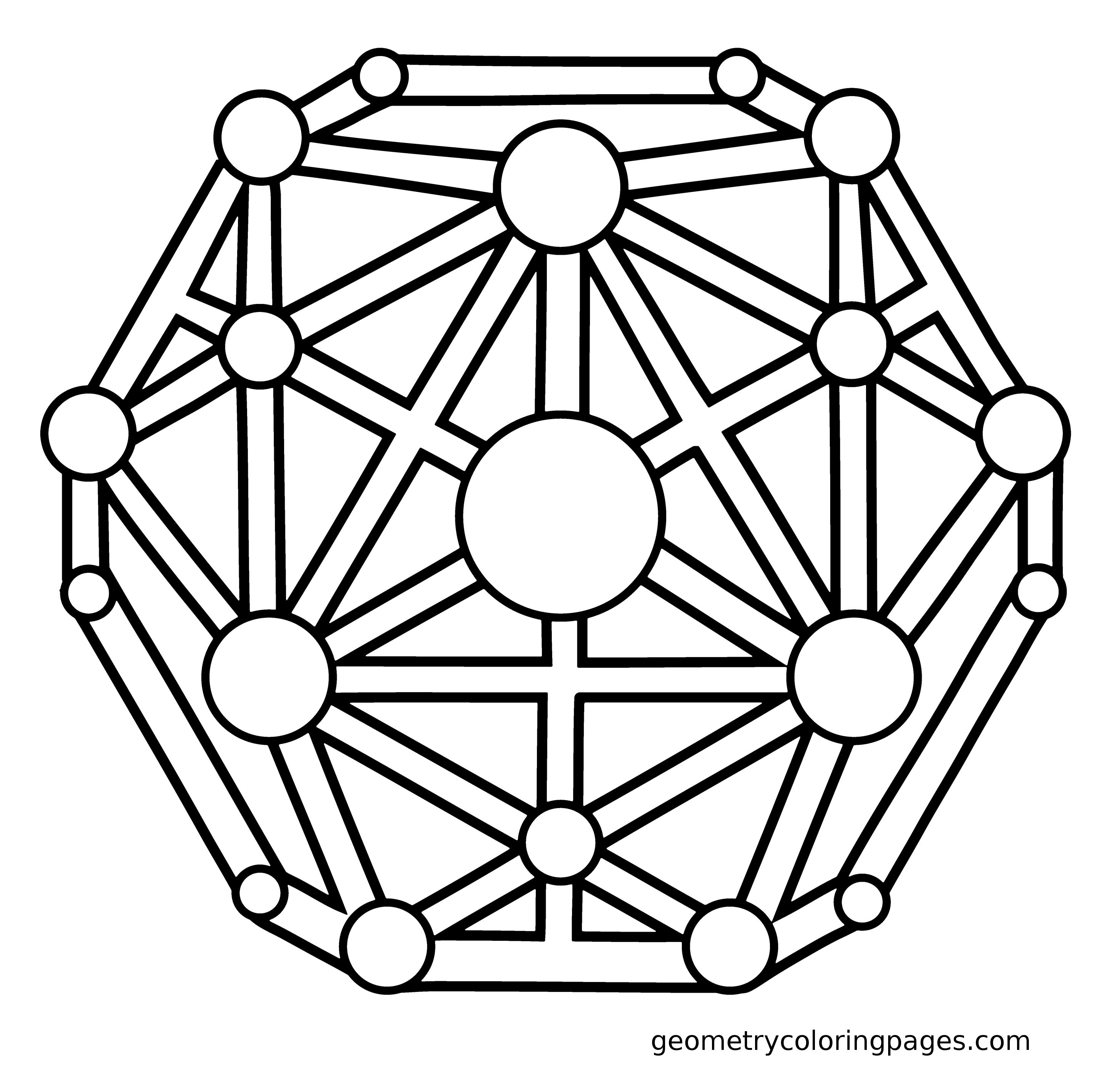 Sacred Geometry Coloring Page, Dodecahedron from geometrycoloringpages.com