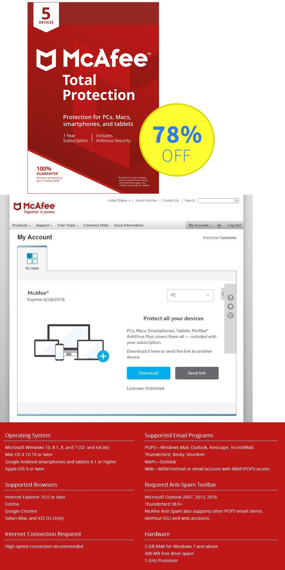 Antivirus and Security 175689: Mcafee Total Protection 2019