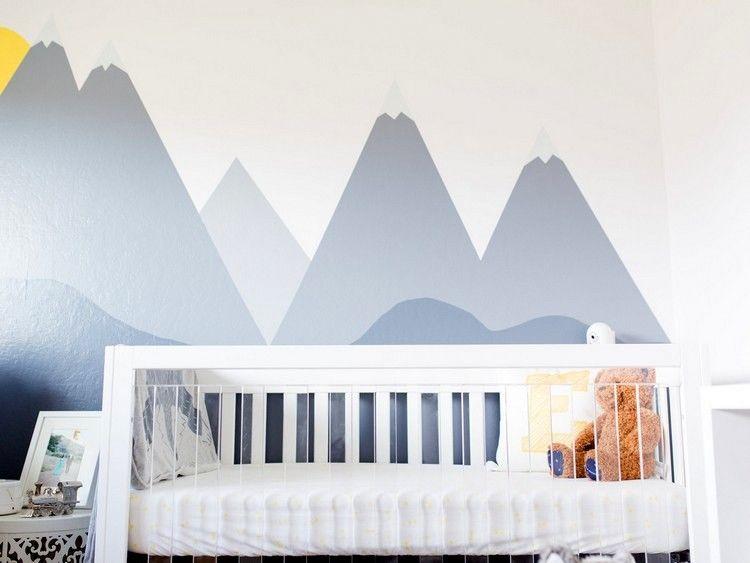 Dessin montagne stylisé en couleur pour décorer les murs de la chambre