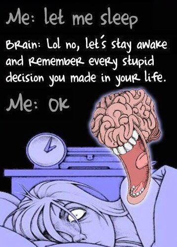 Me Versus My Brain Funny Bedtime Insomnia Cartoon
