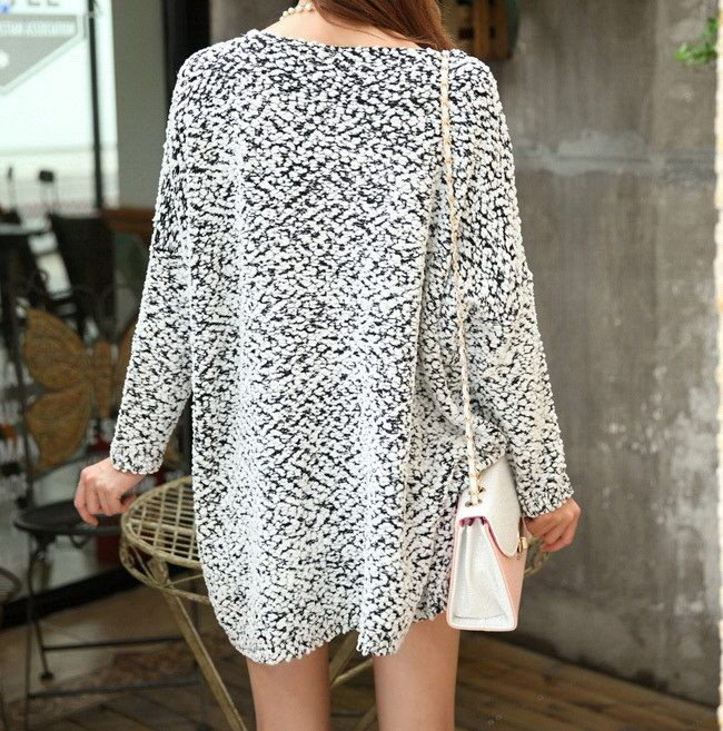 Fashionable Style V-Neck Loose-Fitting Asymmetrical Long Sleeve ...
