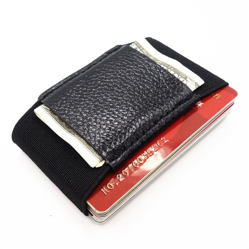 Men Slim Leather Wallet With Elastic Front Pocket Card Holders And ...
