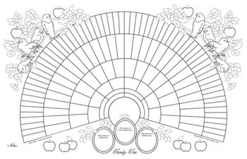 11x17 Printable Genealogy Fan Chart, Coloring Page Bird