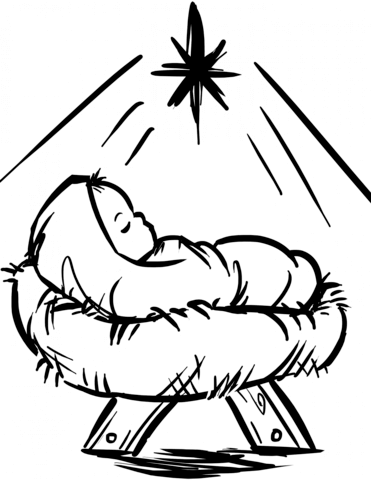 Baby Jesus Manger Scene coloring page from Religious