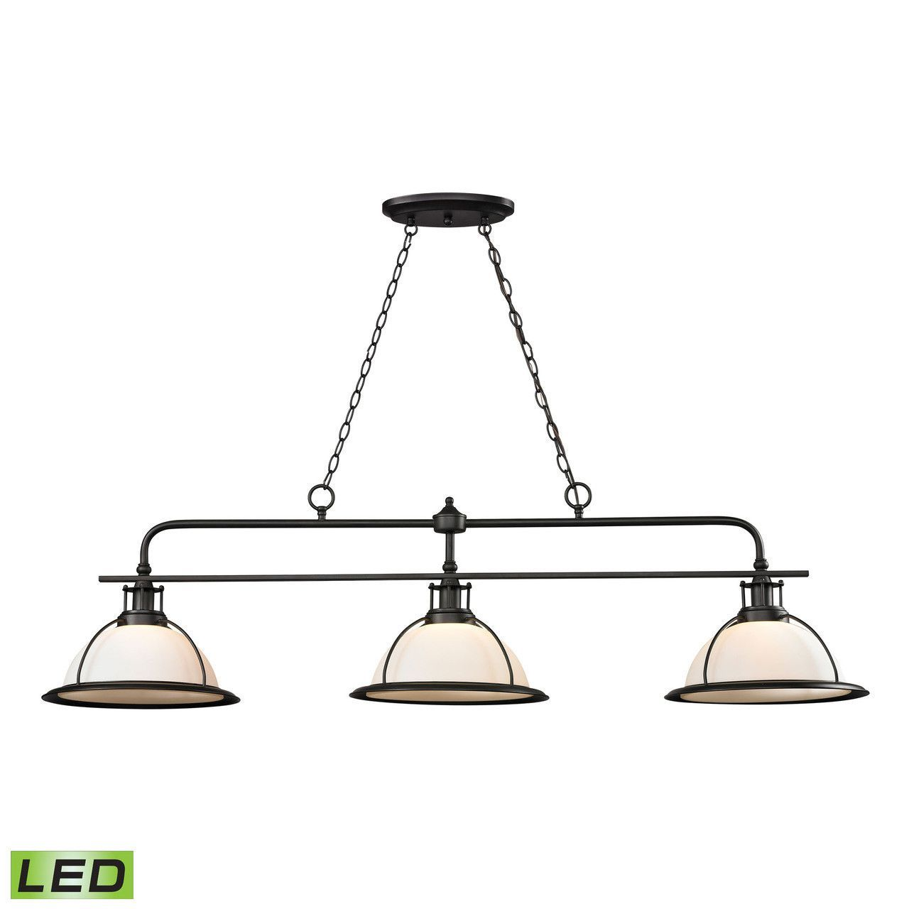 Wilmington 3 light led billiard in oil rubbed bronze 550473 led elk wilmington collection 3 light islandbilliard light in oil rubbed bronze led arubaitofo Choice Image