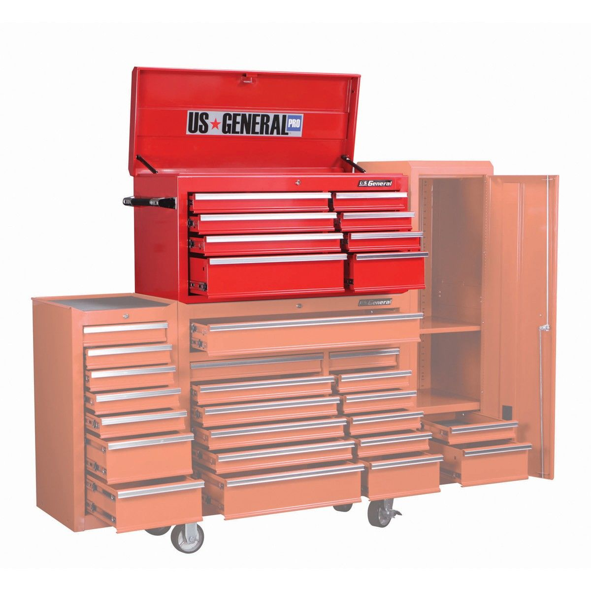 44 in. 8 Drawer Glossy Red Roller Cabinet Top Chest