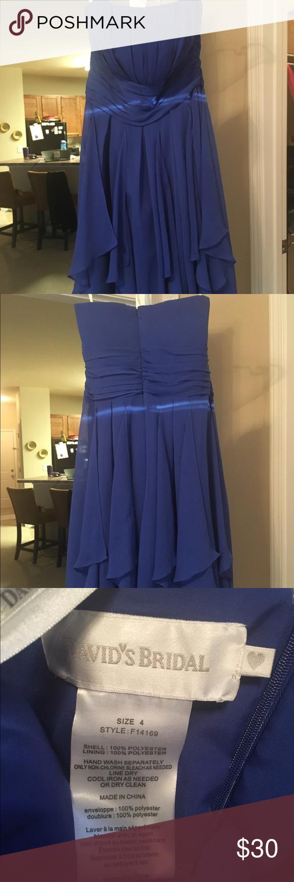 David's Bridal Cobalt Dress Worn once.  No damage, stains, etc... size 4. 100%Polyester.  Cobalt blue. David's Bridal Dresses Strapless #cobaltdress