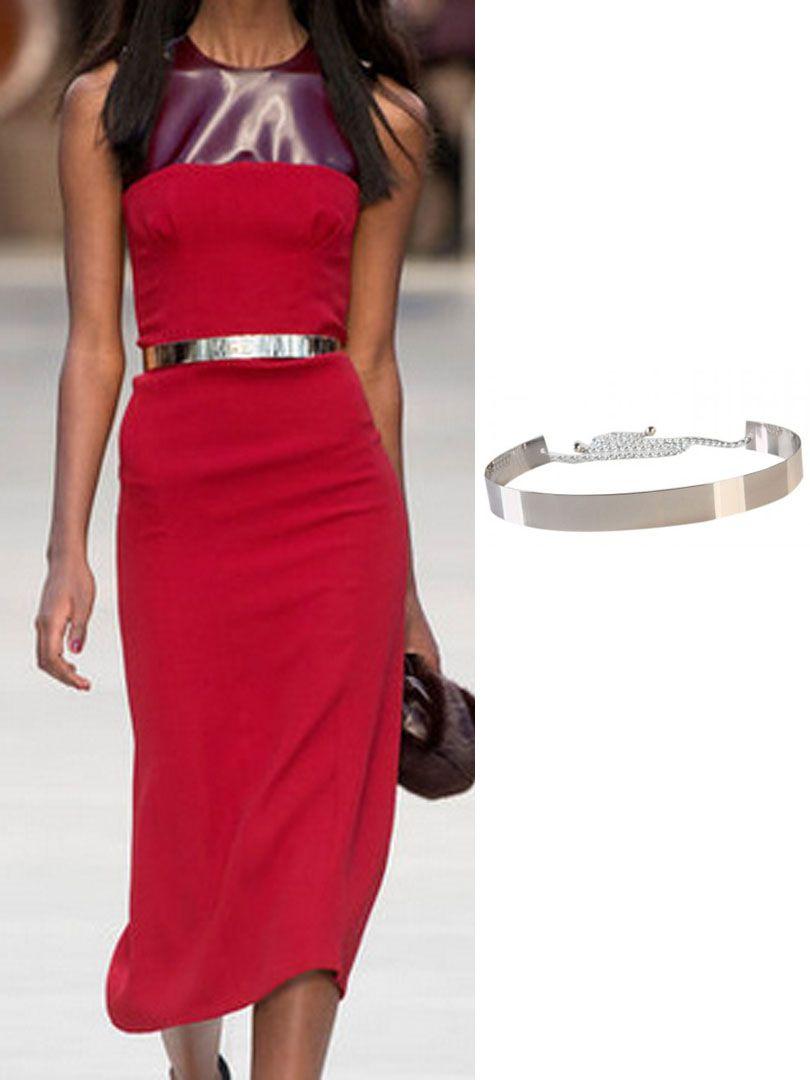 Silver Metallic Wide Waist Belt  Pattern dress women, Waist belt