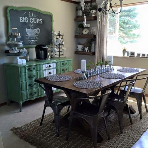 An UpCycled Dresser Mirror Used As A Buffet Coffee Bar Gotta Diy Farmhouse TableRustic Dining
