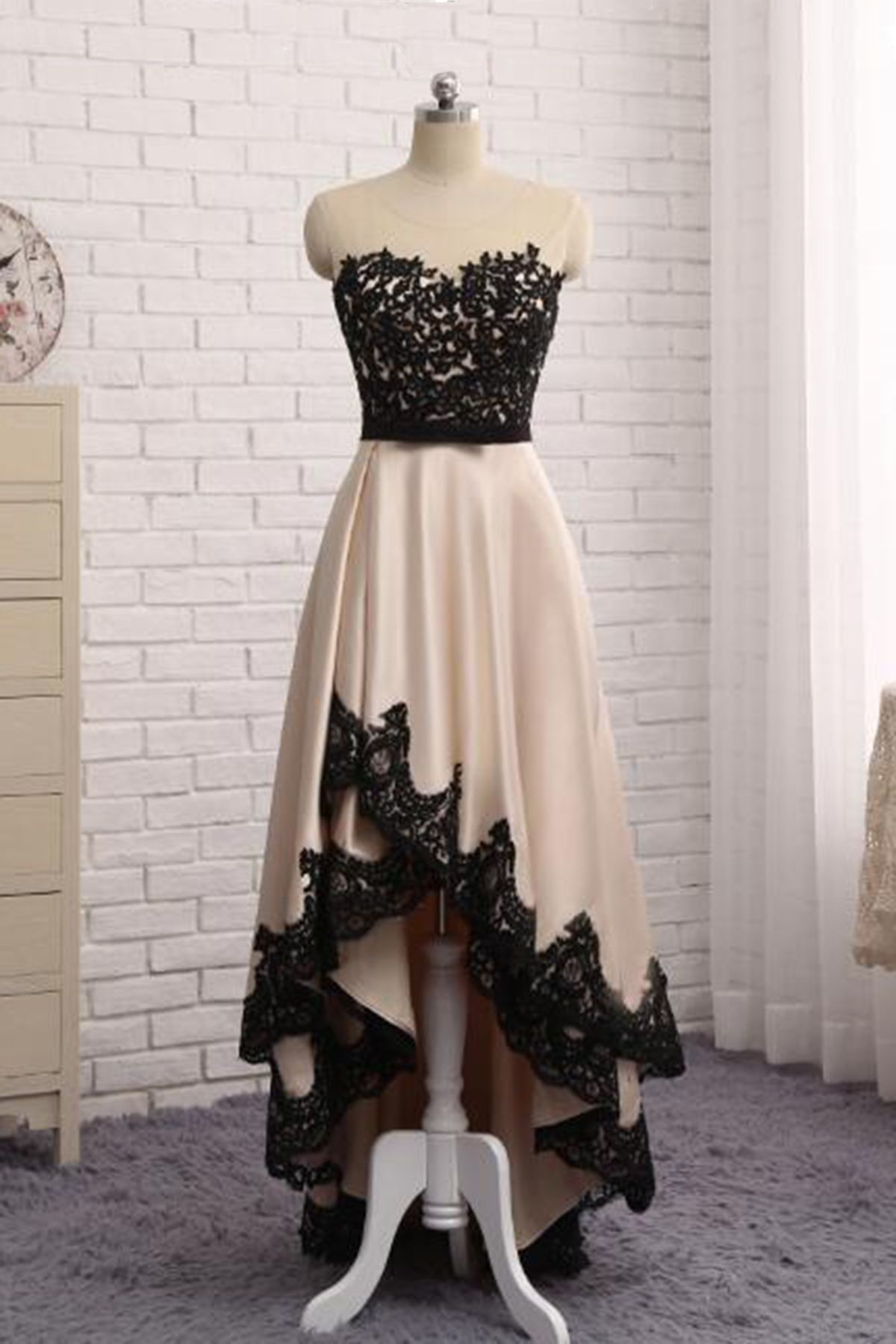 New beige satin high low lace homecoming dresses prom dress for