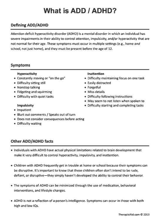 What is ADD / ADHD? Preview | Work/Social Work | Pinterest