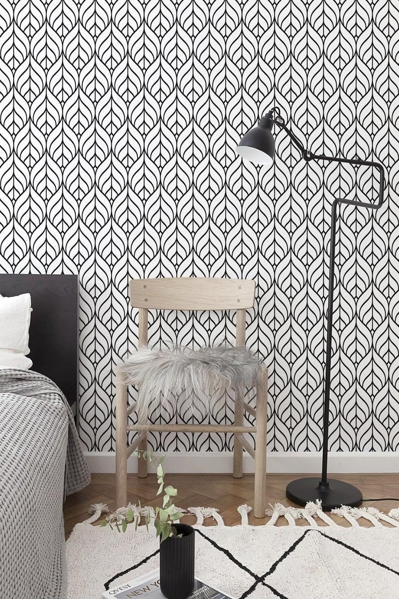 Terrain Peel And Stick Wallpaper Gray Botanical Leaf Gray Grey White Designer Peel And Stick Wallpaper Nuwallpaper Wallpaper Roll