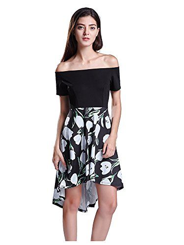 FSOOG Women's Off the Shoulder Flare Floral Casual A line Cocktail Dress