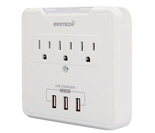 Oviitech Multifunctional Socket Wall Tap Wall Mount Charging Center Surge Protector With 3 Usb Charging Ports 3 Ac Outlet P Pc Accessory Gadget World Wall Taps