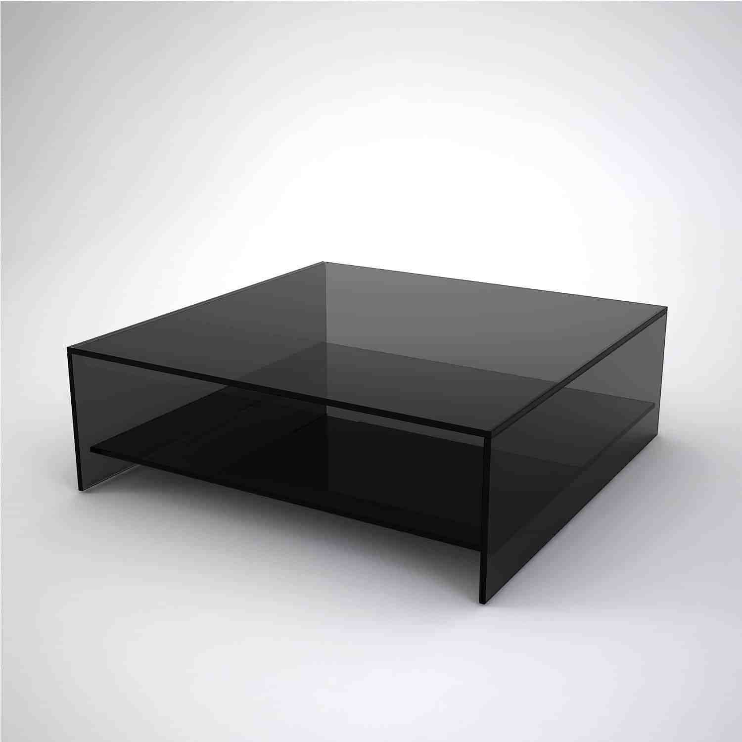 Best Judd Square Smoked Glass Coffee Table With Shelf Black 400 x 300