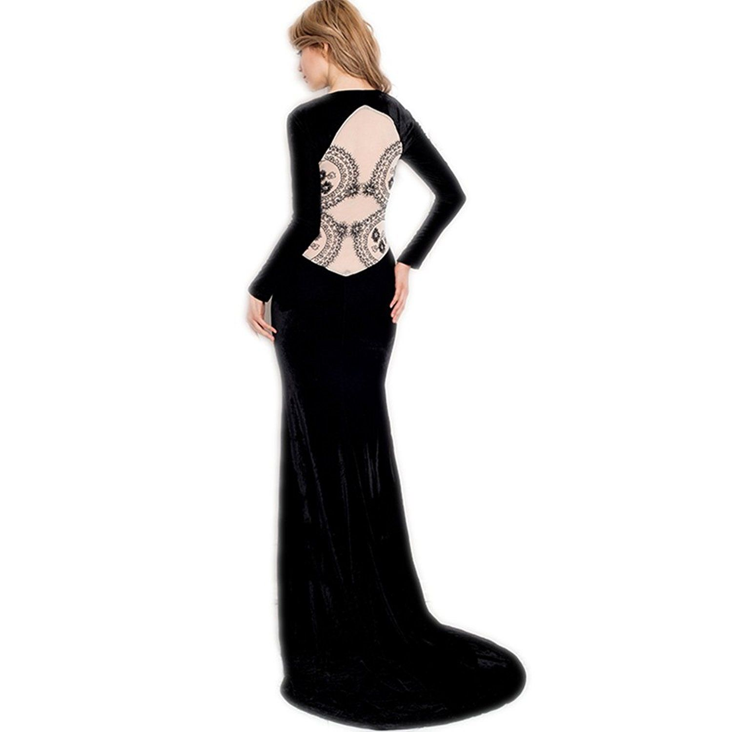 Maxde sexy pleuche backless lace long formal evening velvet dress