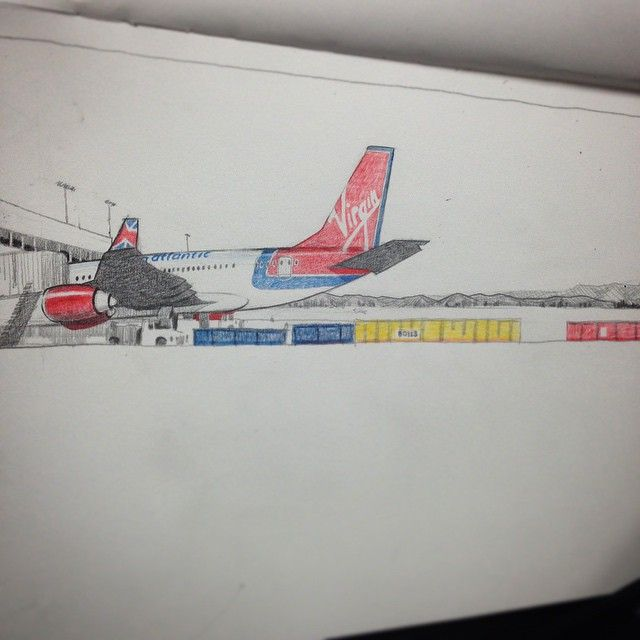 Instagram media by swishersplitter - Took a bike ride from ktown to LAX airport with @projectcho n got a sketch in before the ridiculously early sunset.... Anyway... This is what I got  #sketching #illustration #lax #drawing #airplanes #pencil #coloredpencil #bikerides #art #virginatlantic #airport #LA