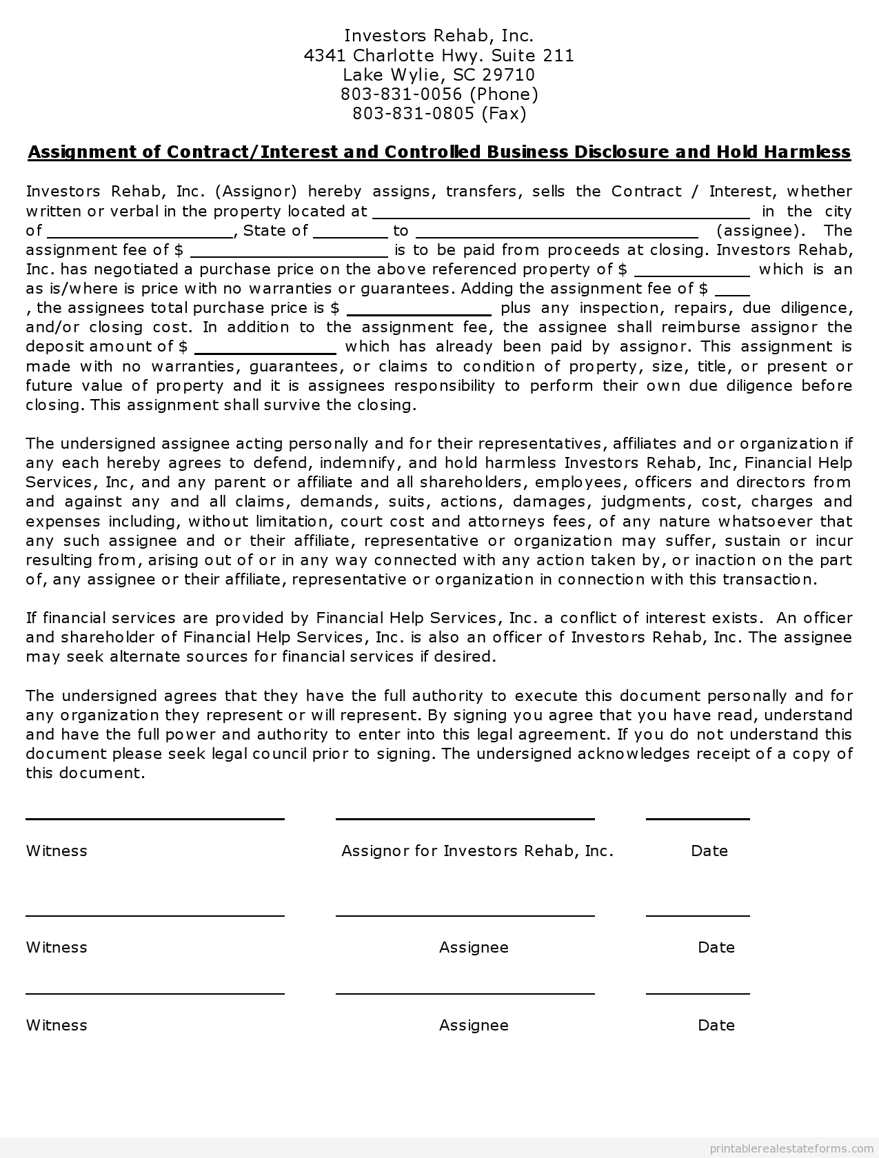 Free Printable Assignment Of Contractinterest And Controlled