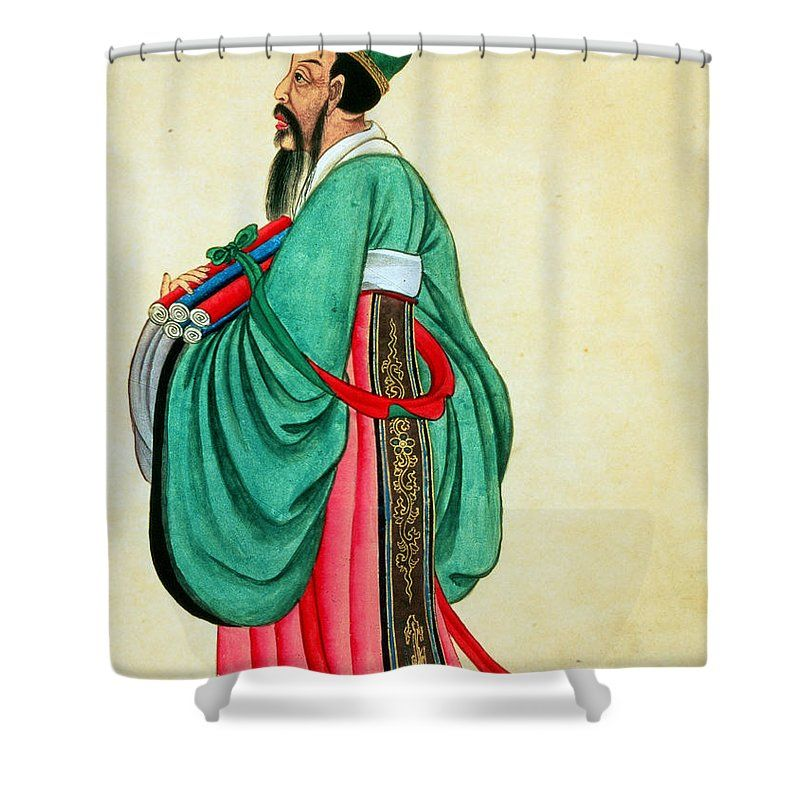 Portrait Of Confucius Shower Curtain By Chinese School This