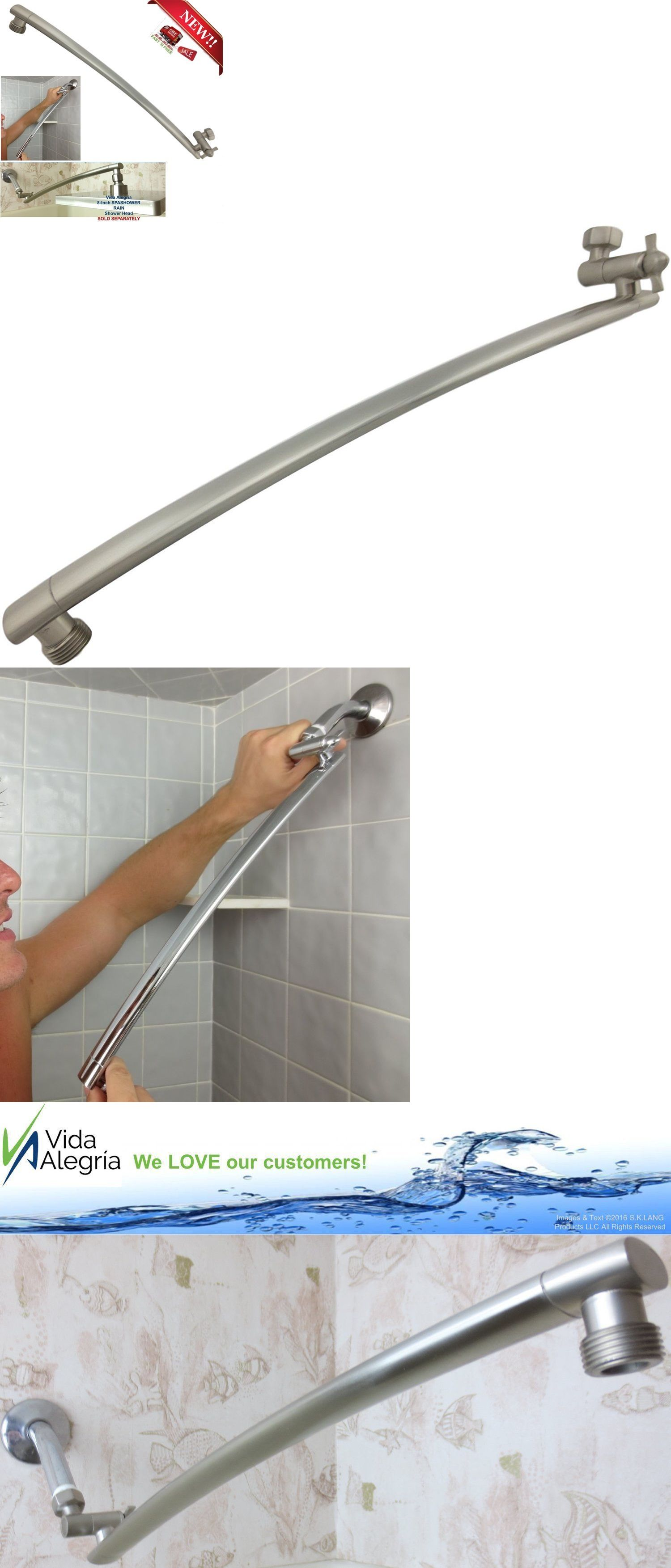 Shower Heads 71282: Brushed Nickel Rain Shower Arm Brass Adjustable Pipe  Extension Bathroom 18 Inch
