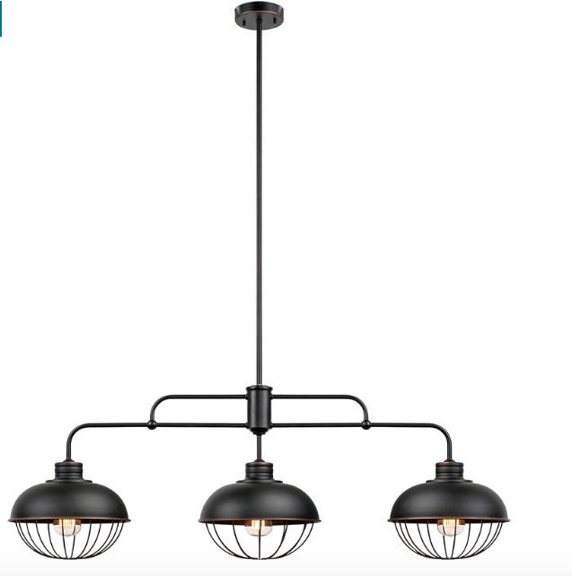 Kathi 3 Light Kitchen Island Linear Pendant Industrial Home
