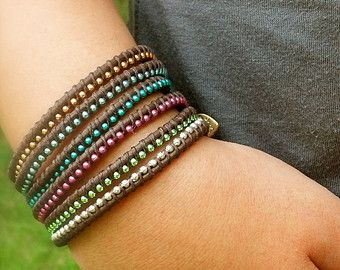 Choose any Three Brown Leather Friendship Bracelets, Wholesale, Bulk, Colorful, Fun, Gift for Her