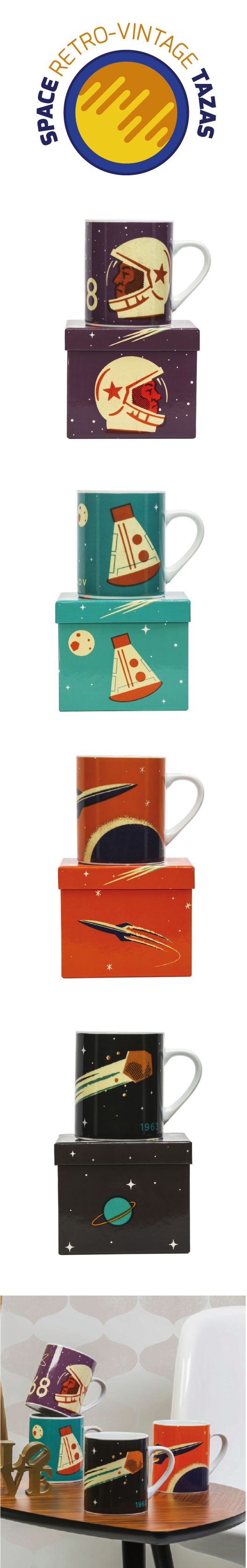 Colección de tazas del espacio con unas magnificas ilustraciones de las primeras aventuras espaciales. Un diseño retro para amantes del universo y para todos aquellos que sueñen con viajar a la luna.  #retro, #universo, #tazas, #decoracion, #regaloshombres