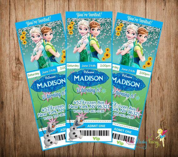 Frozen Fever Birthday Invitation, Disney Frozen Invitation, Frozen Ticket Style Invitation, Do-It-Yourself Digital File.