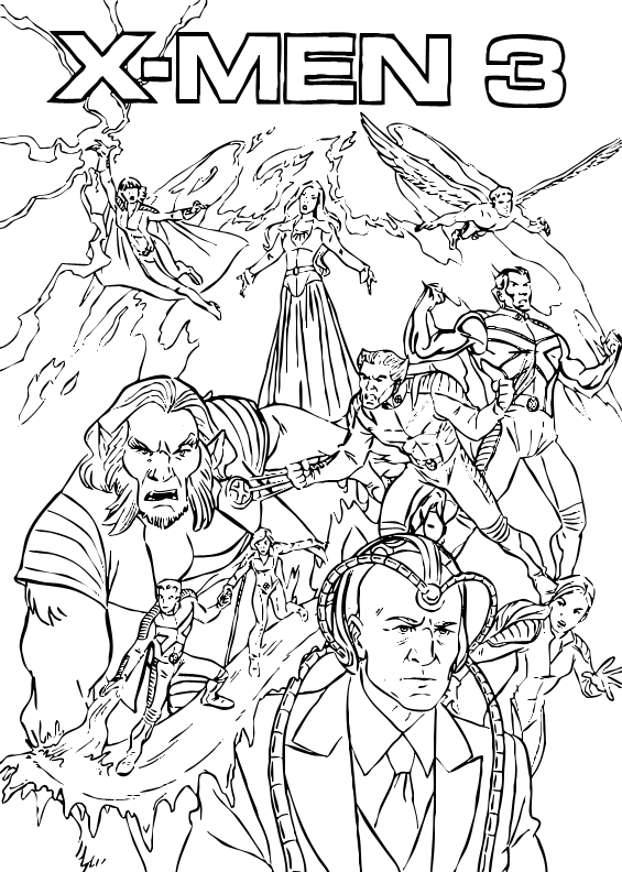 X men coloring page is jam packed with all your x men characters enjoy a comic full of marvel superhero and x men coloring pages for you to