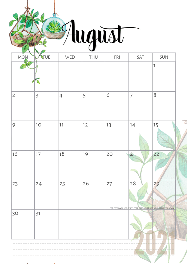 2020 2021 Calendar Free Printable Plants Theme Cute Freebies For You In 2020 Planner Calendar Printables Free Printable Calendar Monthly Calendar Printable