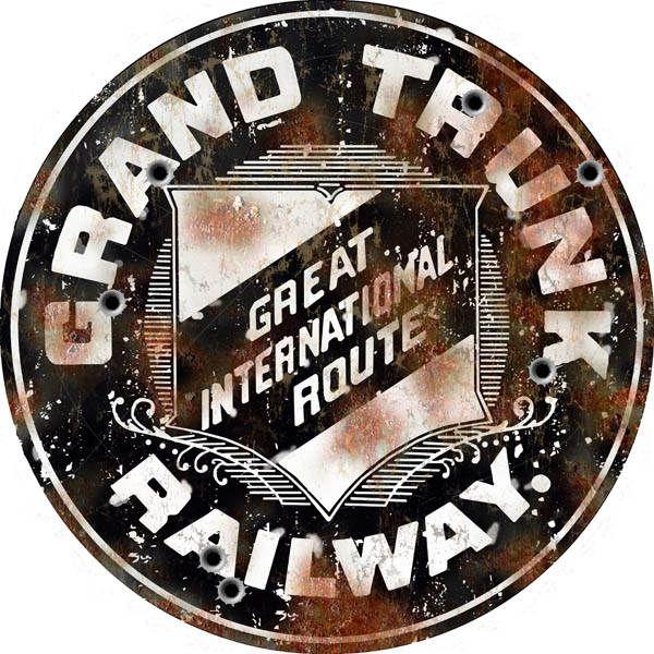 Grand Trunk Michigan Railroad Sign Aged Aluminum Metal Sign