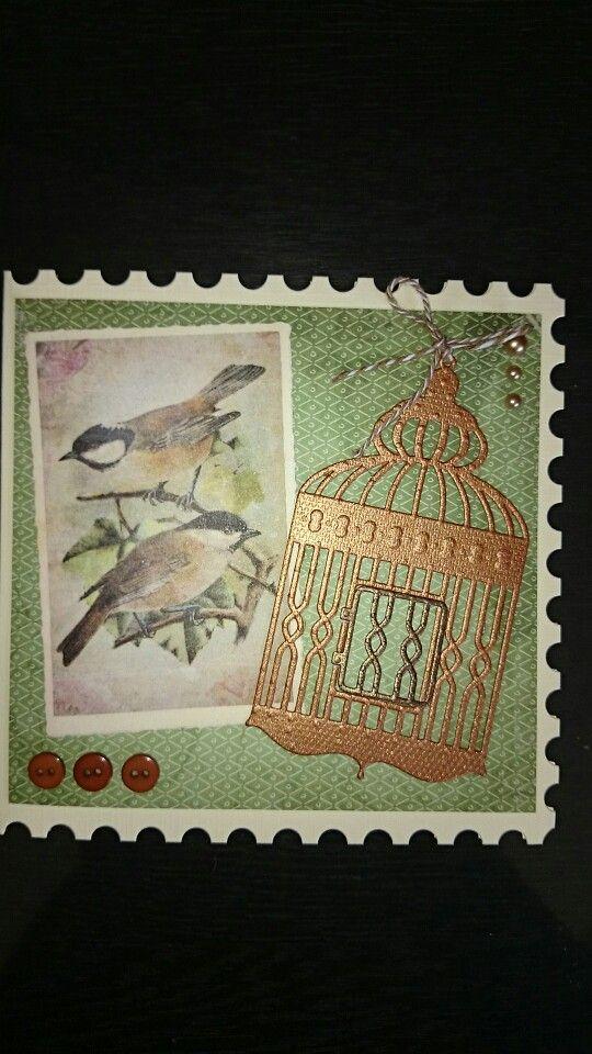 Vogel kaart gemaakt met een plaatje uit de  romantic picture lijn van studiolight. Snijmal is van boekenvoordeel (craft unlimited). Frame kaart (Find it trading)