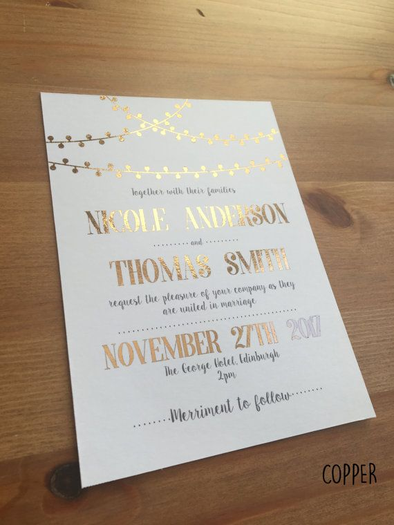Beautiful Metallic Foil Wedding Invitations Modern Text With Gold Fairy Light Design Available In