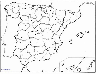 Resultado de imagen de mapa politico mudo de espaa por