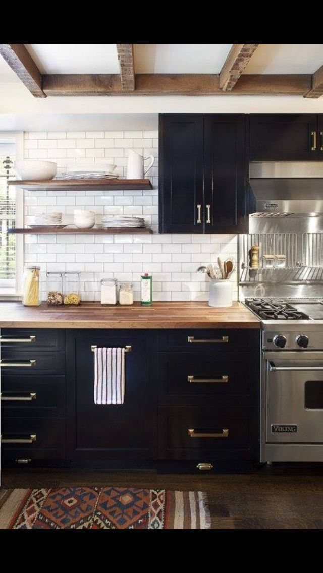 Dark Blue Cabinets Open Shelves Near Sink Kitchen