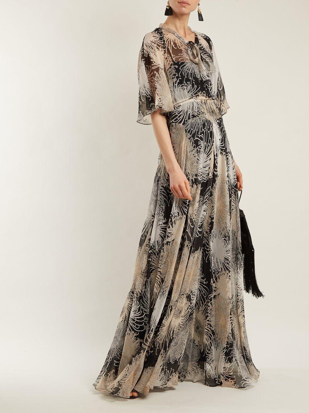 Chrysanthemum-print silk-chiffon maxi dress N°21 2Gbvhn