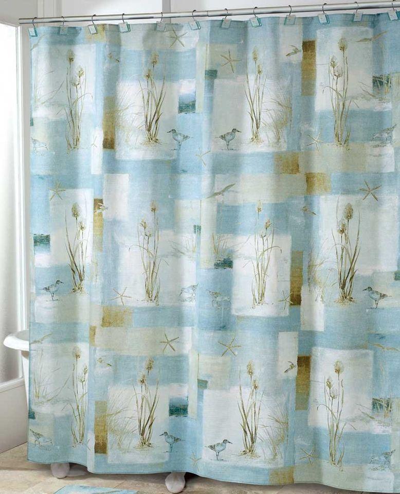 Waters Shower Curtain, Nautical Decor Sandpiper Beach Shower Curtain