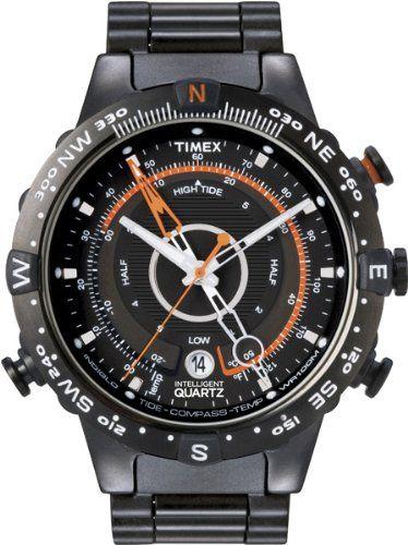 4a0c38f0b706 Timex Men s T2N723 Intelligent Quartz Adventure Series Tide Temp Compass  Black IP Bracelet Watch